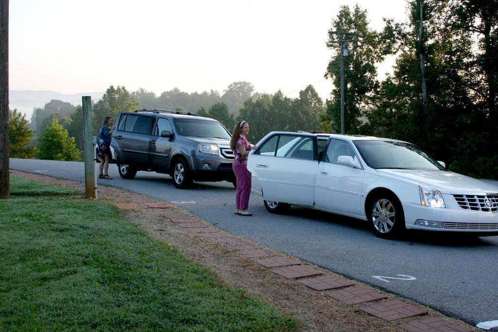 Car line on the first day of school at Mt. Pleasant Elementary.