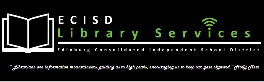 Library Service spelled out with green and white lettering with a black background.