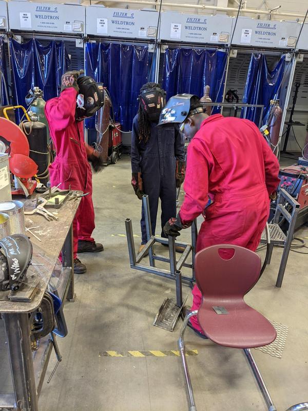 a student welding