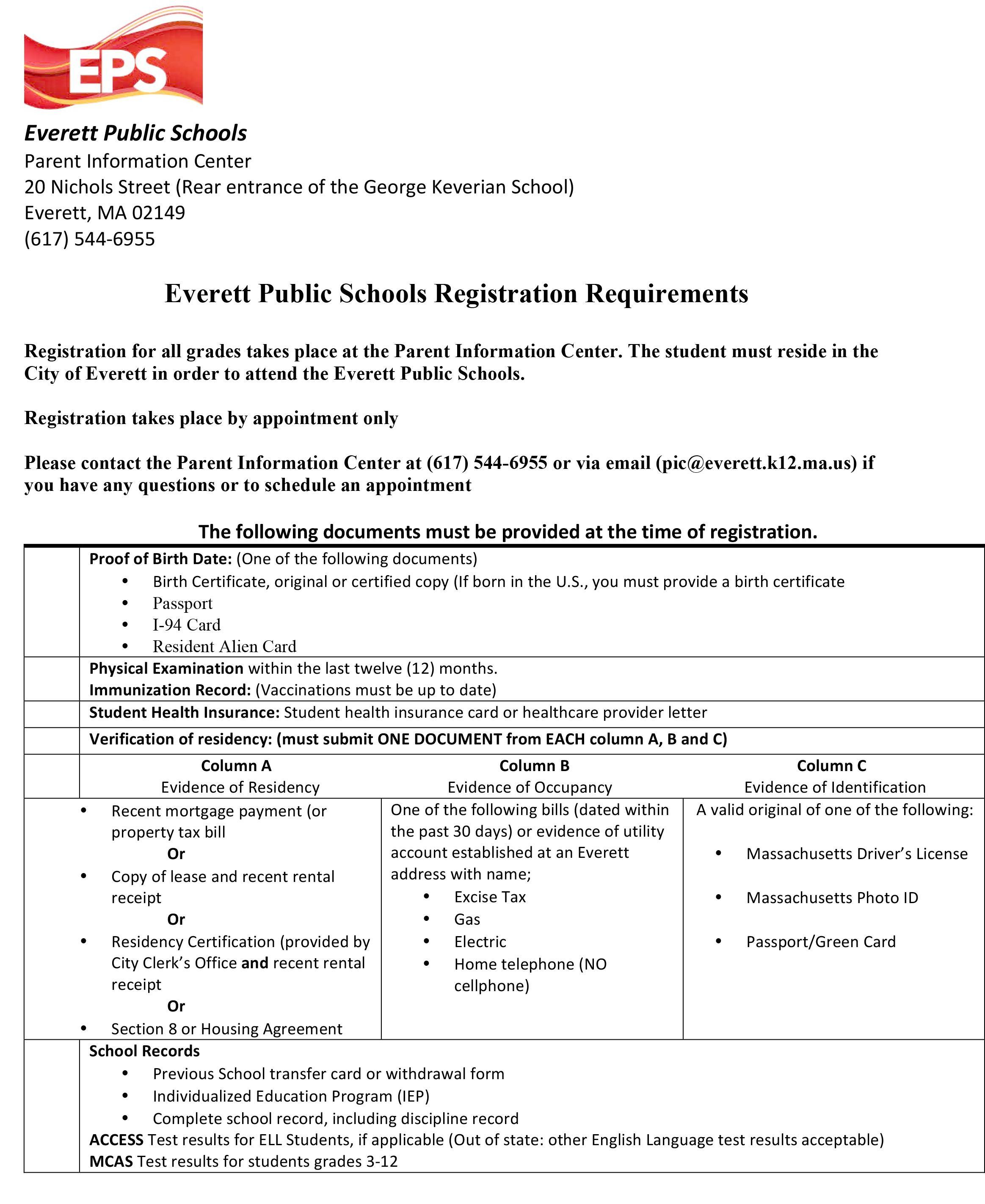 A form, in English, all text with EPS logo