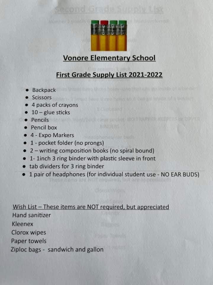 1 Supply List