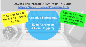 A Google Slide Presentation with a hyperlink attached.