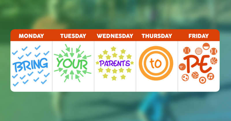 Calling all Parents!  The time has come to join us!  Bring your Parents to P.E. Week is here! Thumbnail Image