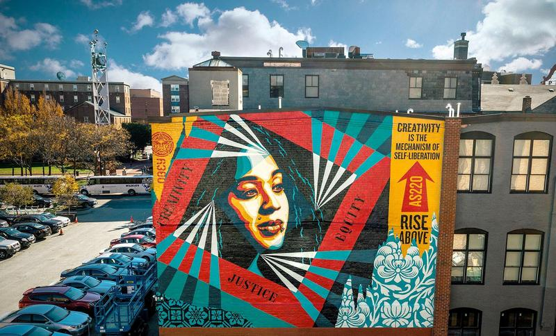 Obey Giant's 100th large scale mural in Providence, RI