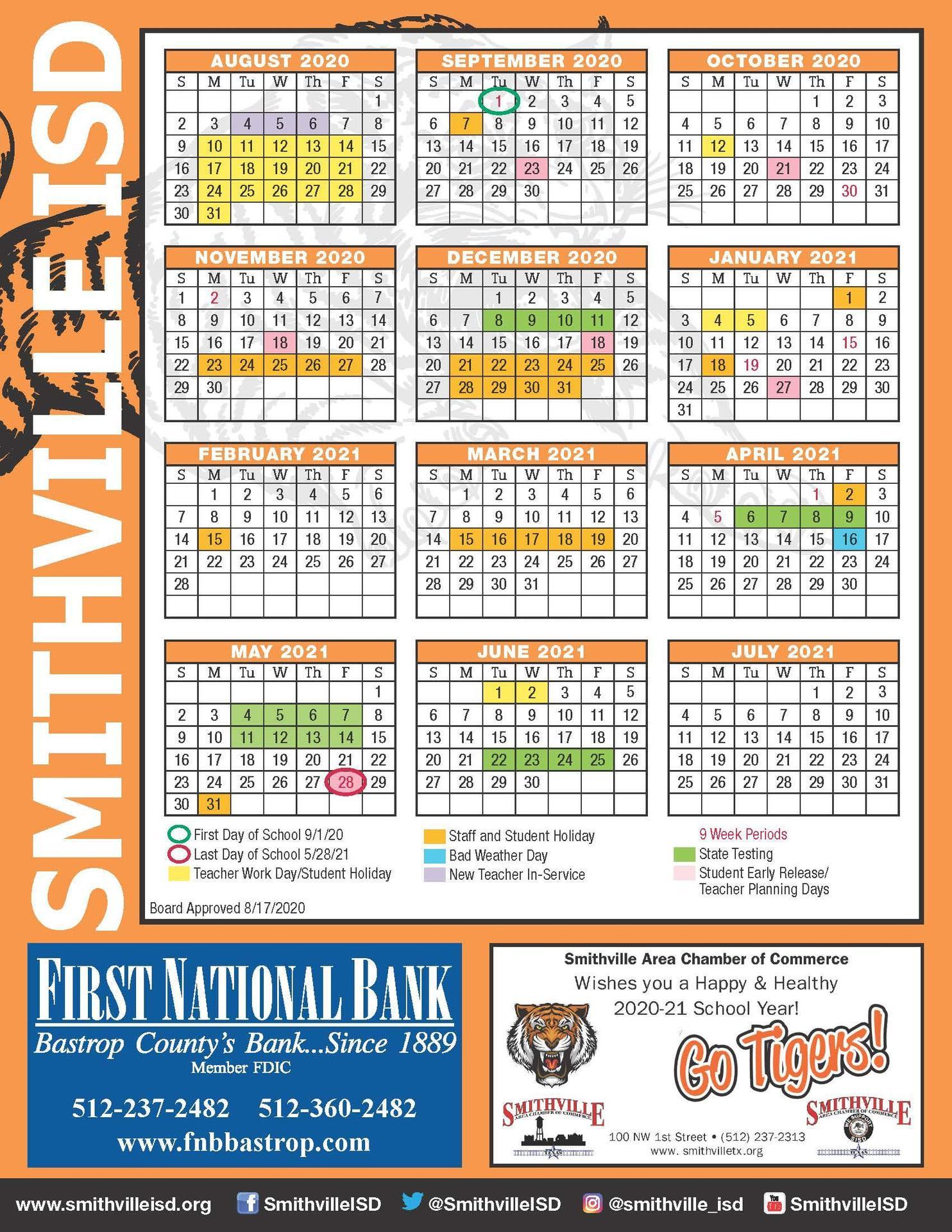 2020 Academic Calendar page 1