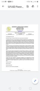 GFUSD Parent Letter Spanish