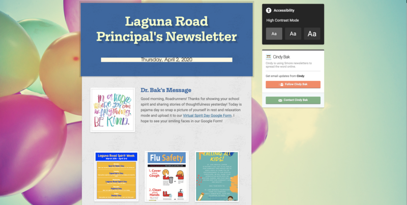 principal's newsletter screenshot