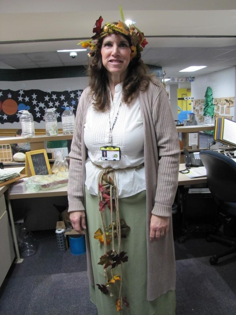 Mrs. Brulu00E9 dressed up for Character day too.