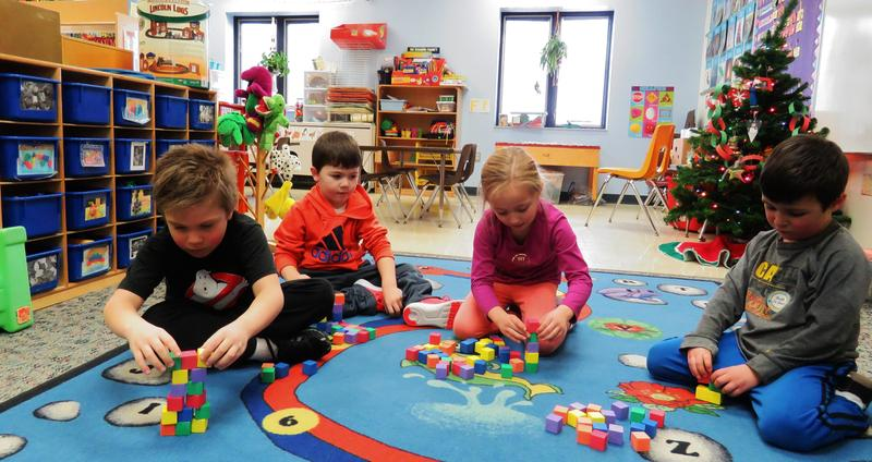 TK Preschool students build with blocks during a free time during the day.