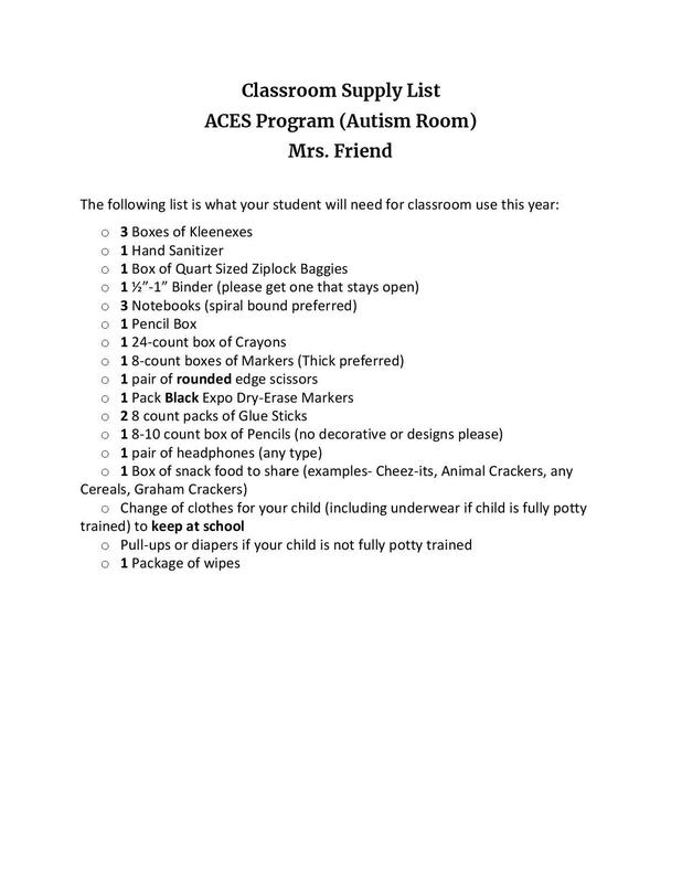 ACES Autism classroom supply list