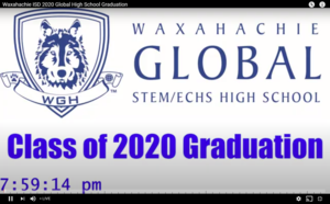 title card for GHS graduation on YouTube