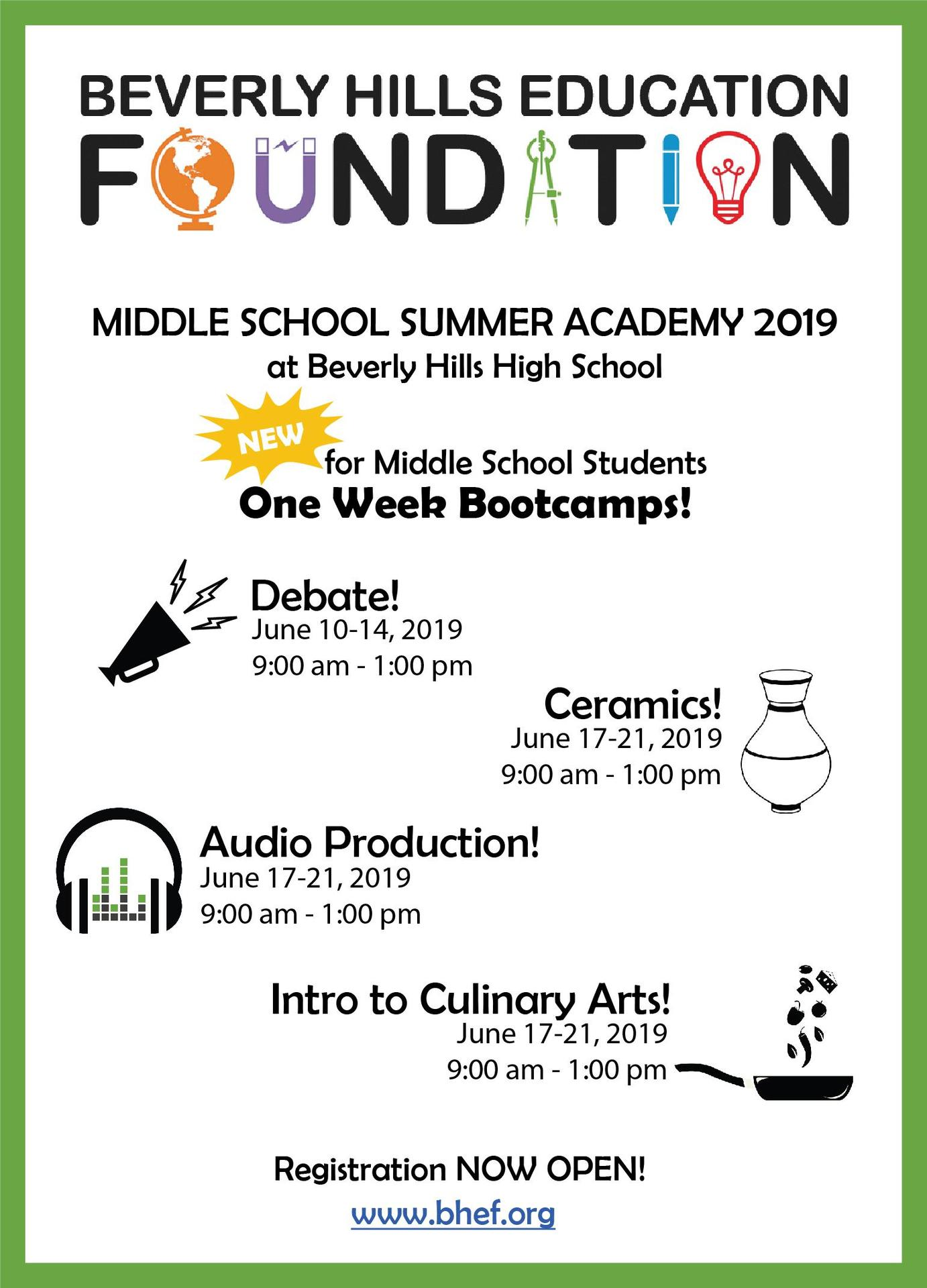 Middle School bootcamp postcard