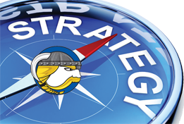 Compass with the word strategy inside and the Cranbury Viking Logo