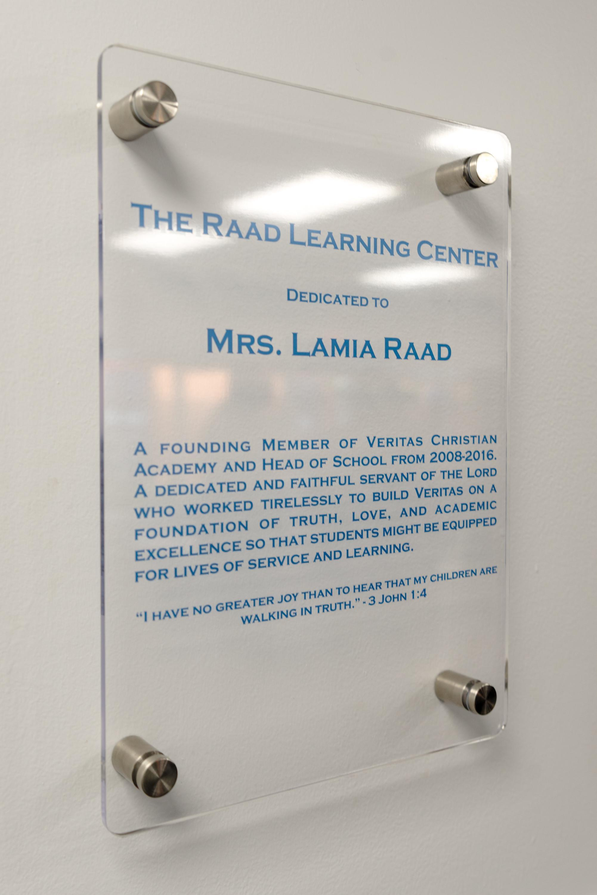 Dedication to the Raad Learning Center
