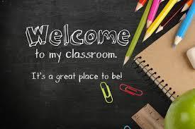 'Welcome to my Classroom' with school supplies