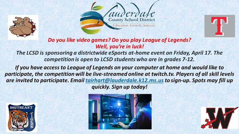 LCSD eSports Competition flyer