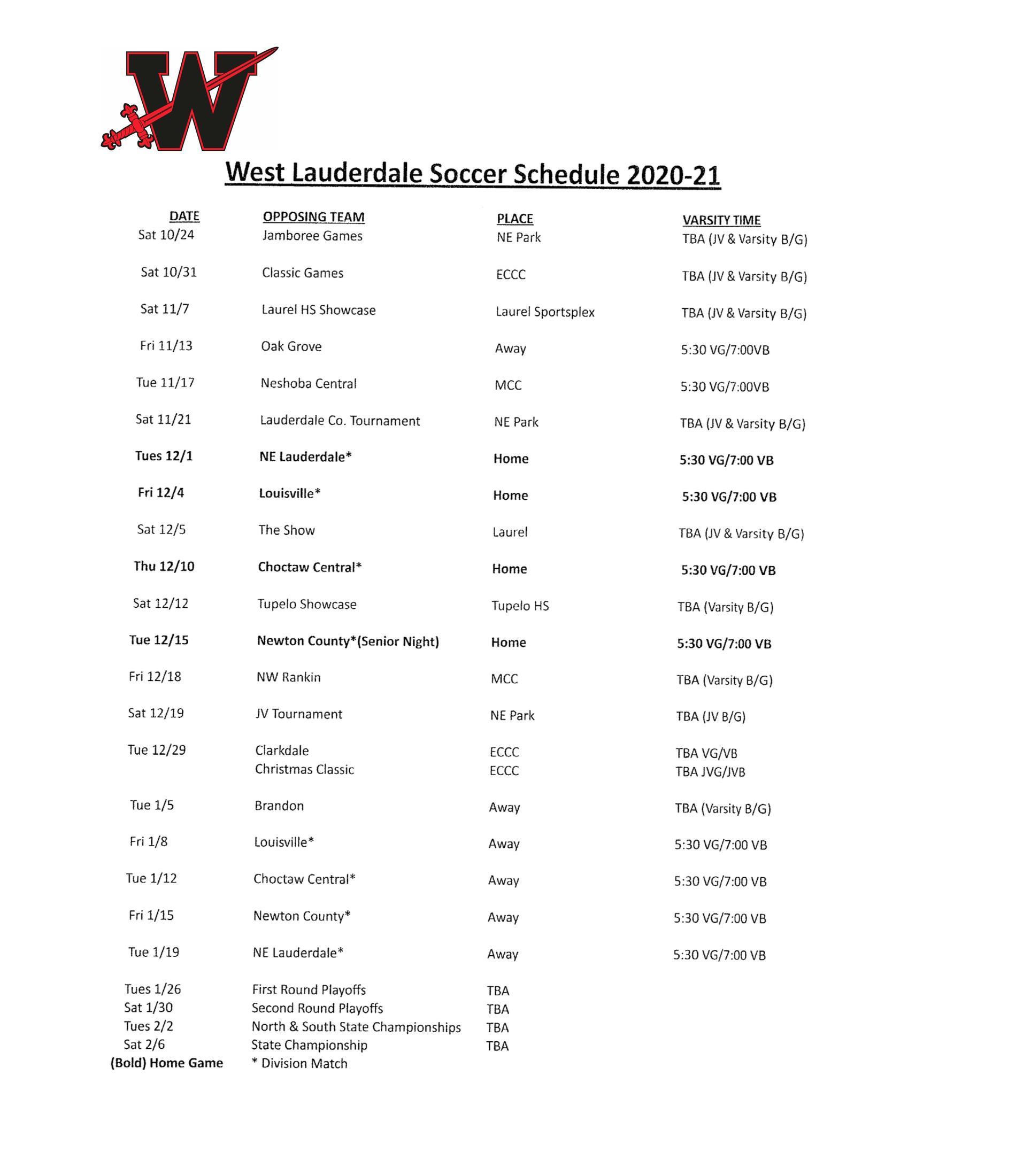 WLHS 2020/21 Soccer Schedule