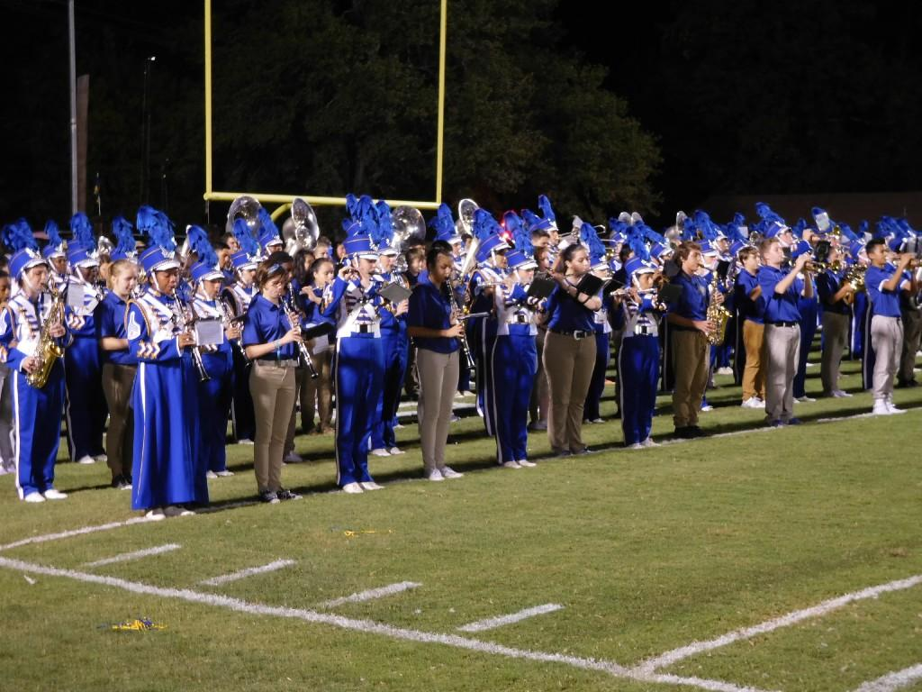 band lined up on the field