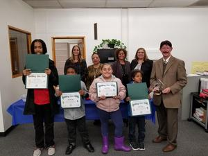 Spelling Bee winners with Board of Education and IUSD team.