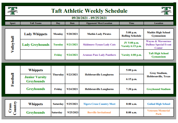 RLTJH and THS Weekly Athletic Schedule Featured Photo