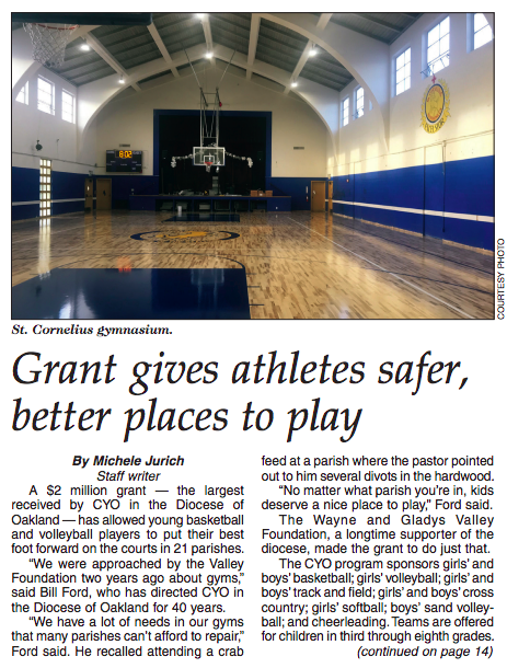 St. Bede receives a grant to renovate their gym.