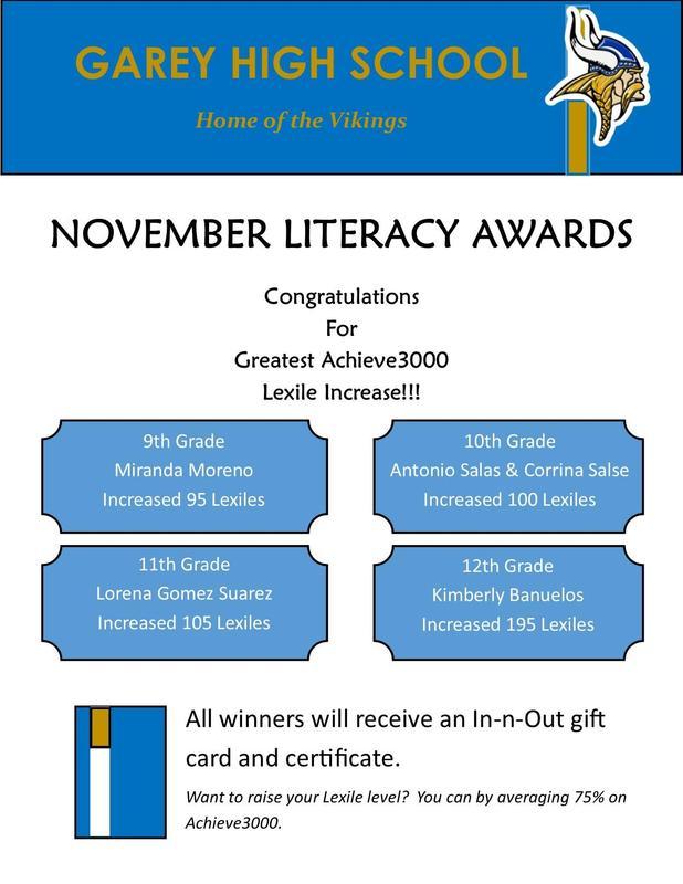 November LIteracy Award