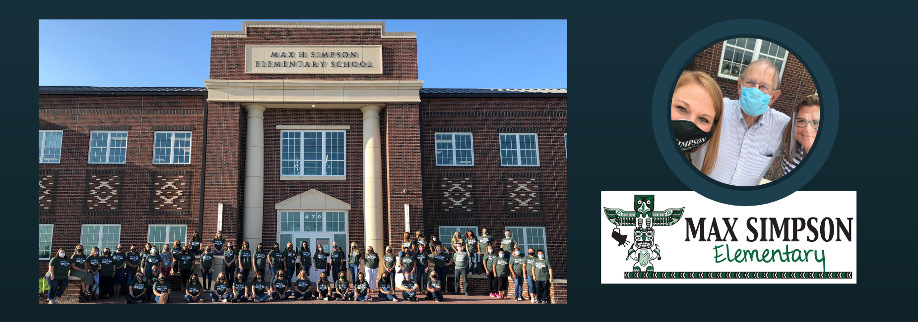 entire staff posing together in front of campus entrance and principal, assistant principal with campus namesake