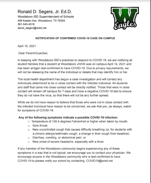 Notification of Confirmed COVID-19 Case on Campus 4/15/2021 Featured Photo