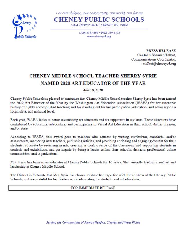 CMS Teacher Sherry Syrie named Art Educator of the Year Thumbnail Image