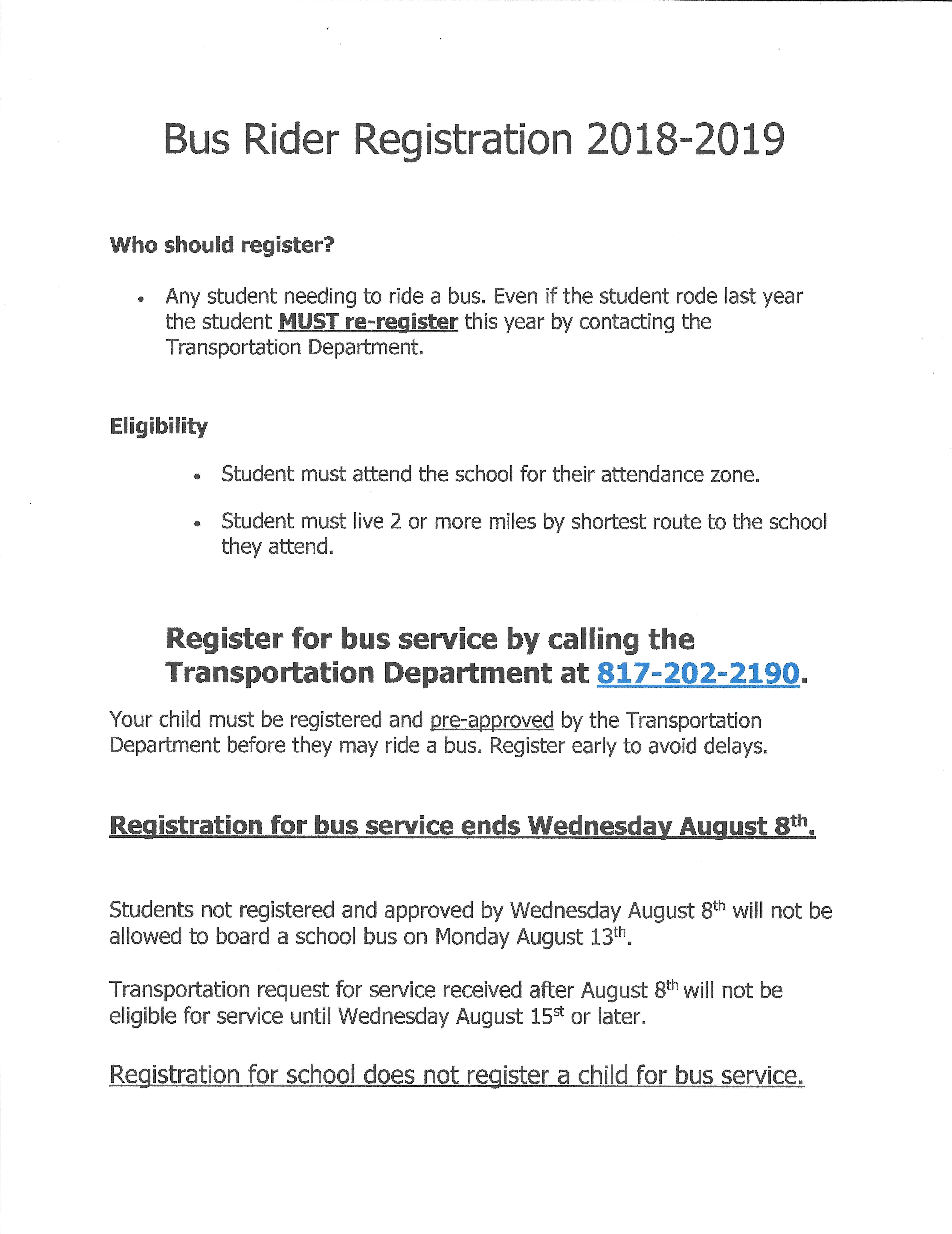 Bus Rider Registration 2018-19 / call 817-202-2190
