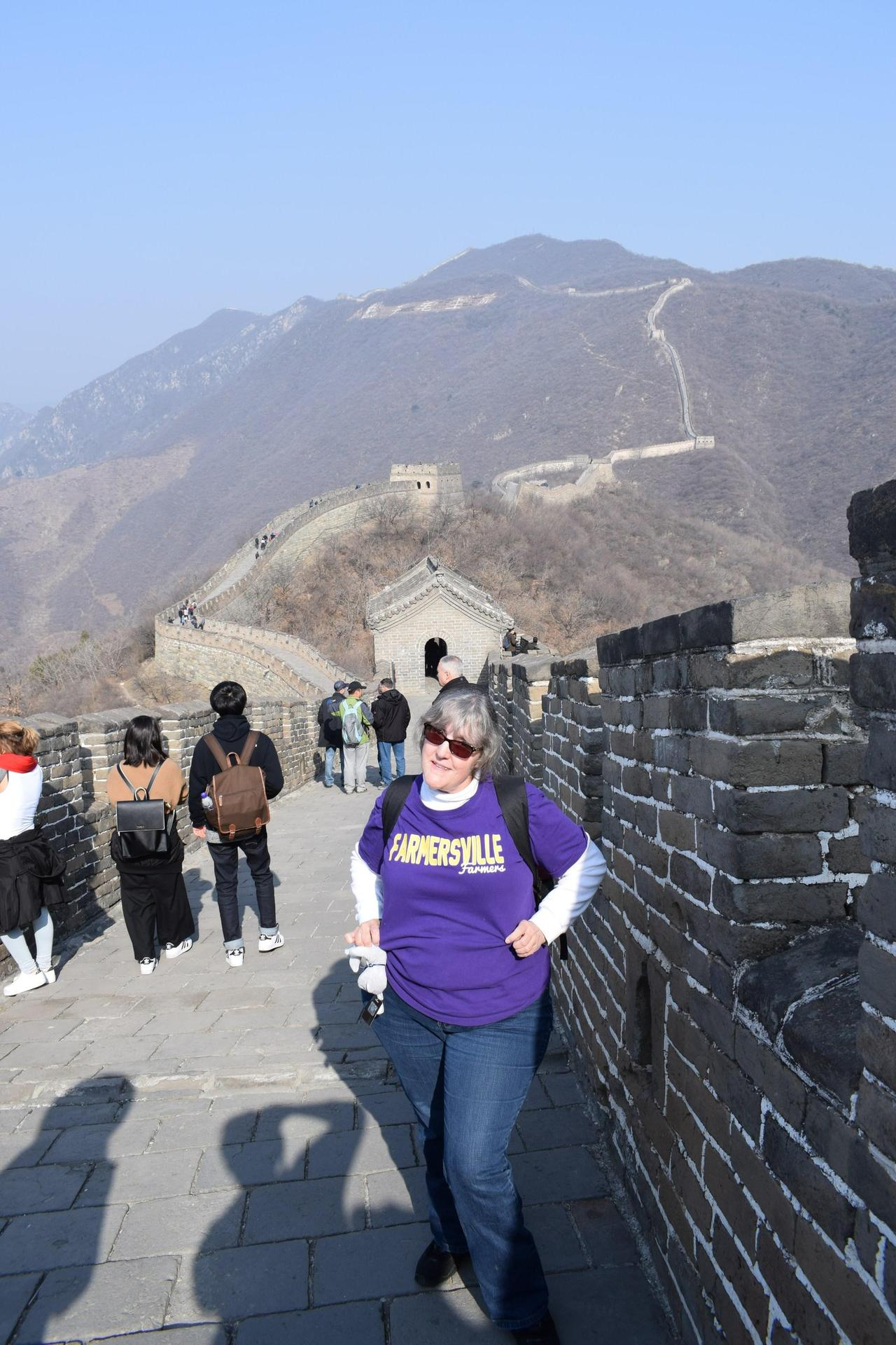 Photo of Mrs. Mahaffey on the Great Wall of China