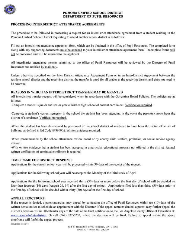 Los formularios de transferencia entre distritos deben entregarse en la Oficina de Recursos para Alumnos en persona o solo por correo. Preguntas Llame: (909) 397-4648, Ext. 28200