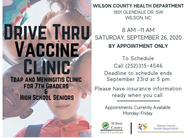 Drive thru Vaccine Clinic  for 7th graders and High school students