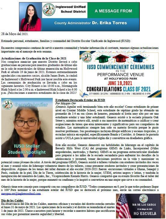 Comunicación a Padres, Familias, y Comunidad de IUSD - 5-28-2021 Featured Photo