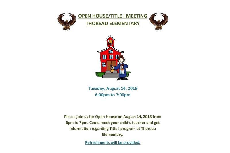 Open House for Thoreau Elementary