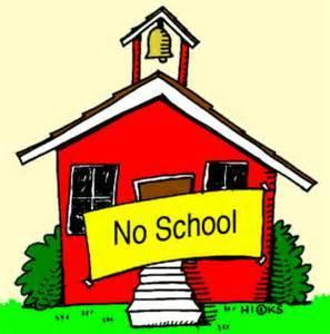 Image of Schoolhouse with No School sign.