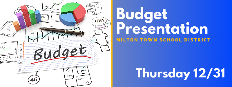 Budget Presentation on Thursday, 12/31