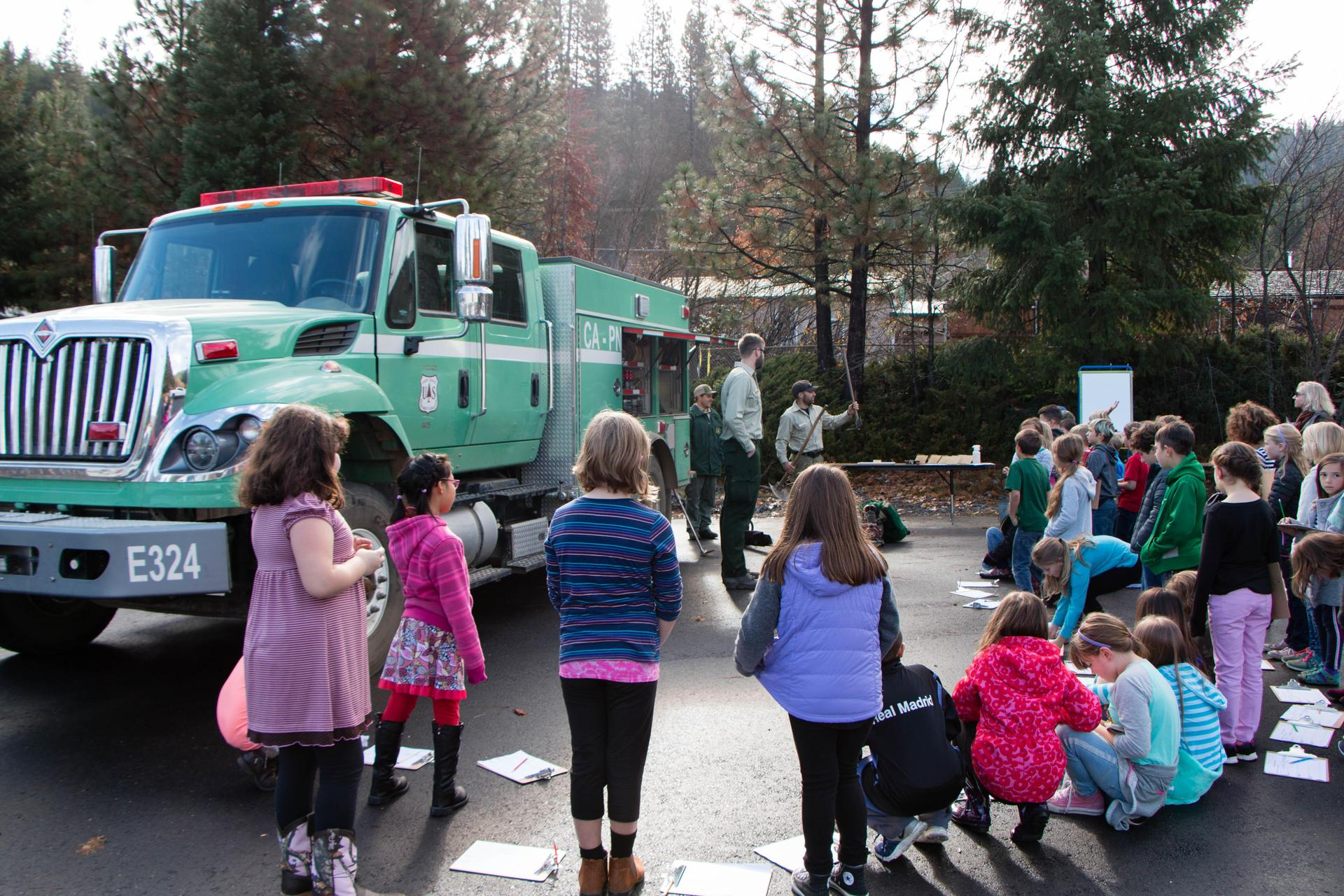 Plumas National Forest Service Wild land Fire Fighters teaching QES 3rd Graders