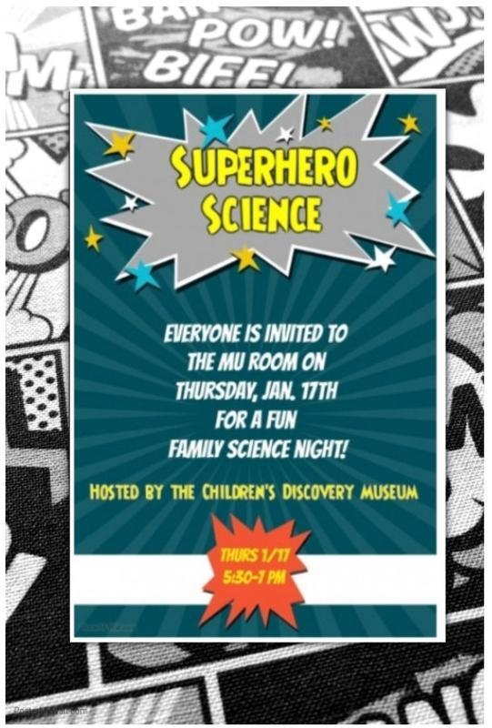 Superhero Science Night Flyer