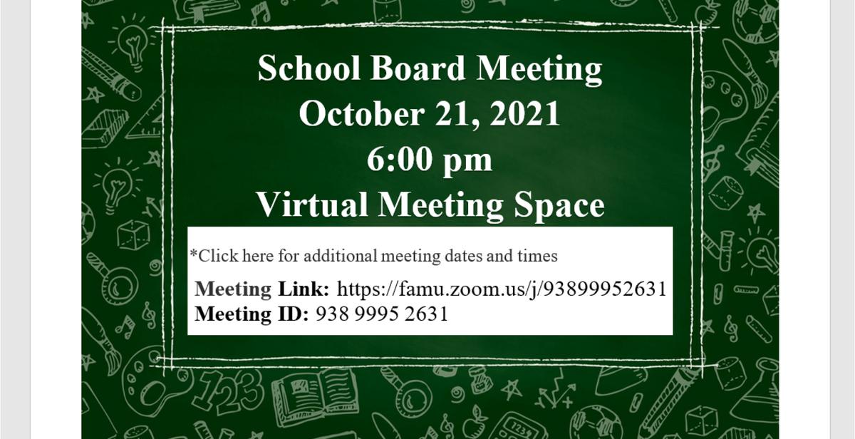October 21, 2021 School Board Meeting Notice