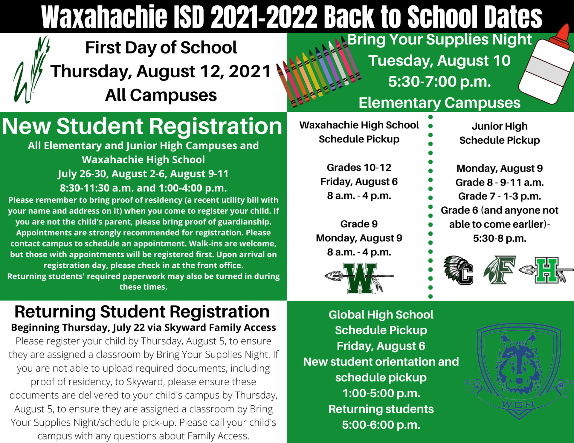 graphic with back to school dates
