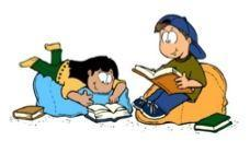 Cartoon of two students reading on bean bag chairs