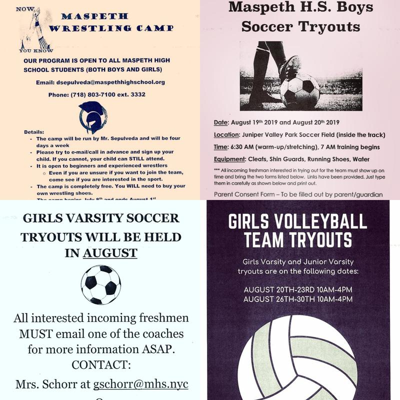Tryouts/Camp For Maspeth High School Fall Sports Featured Photo