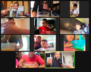 Students and parents mixing applesauce on zoom