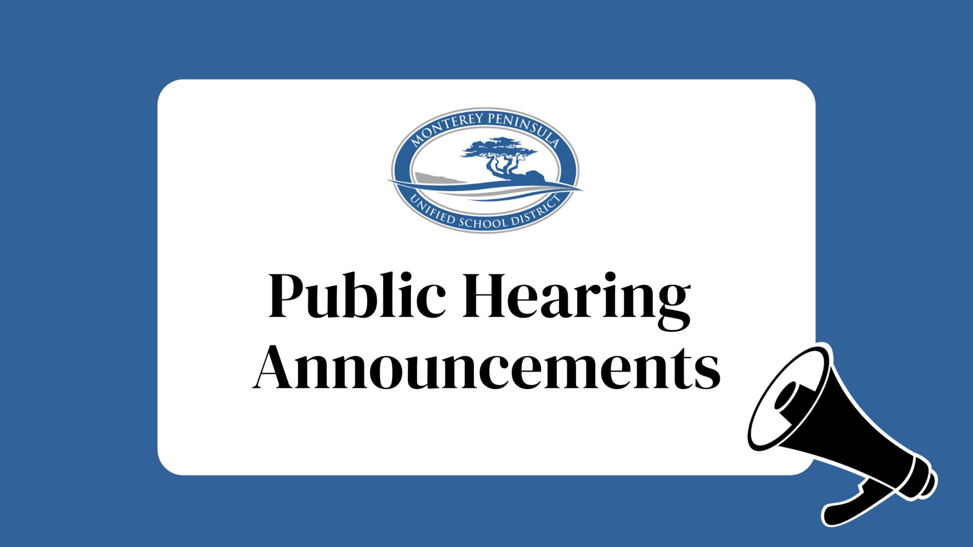 Public Hearings Announcements