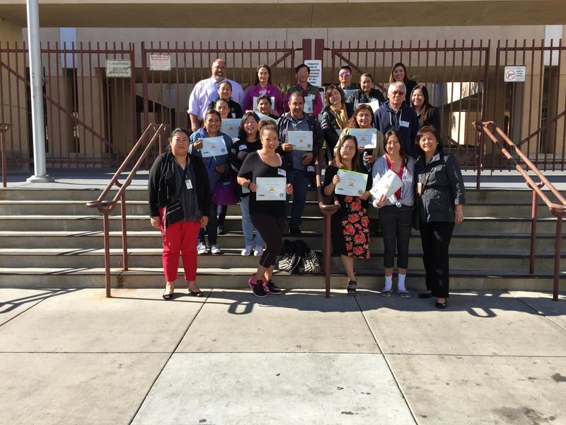 Principal Duane Russell with parents who participated in the Parent Walk Through Day.