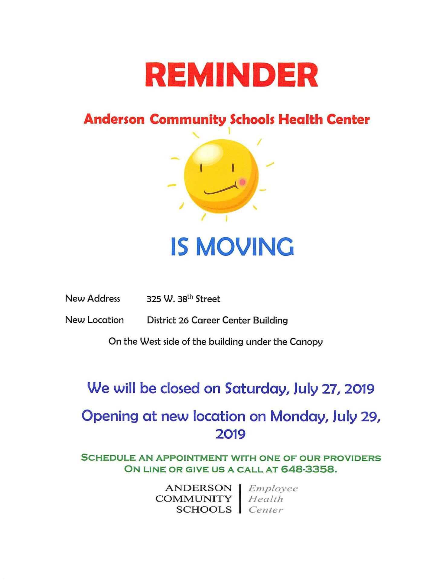 health center move flyer
