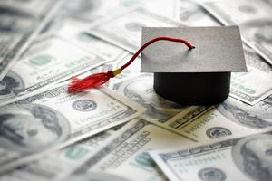 Mortar board and money