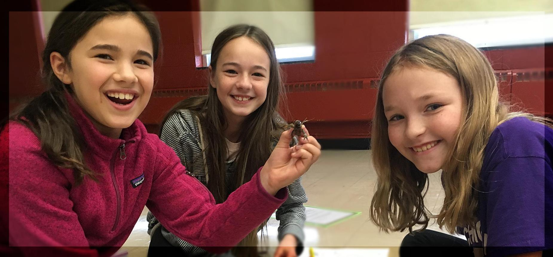 Three elementary students playing with a crawfish