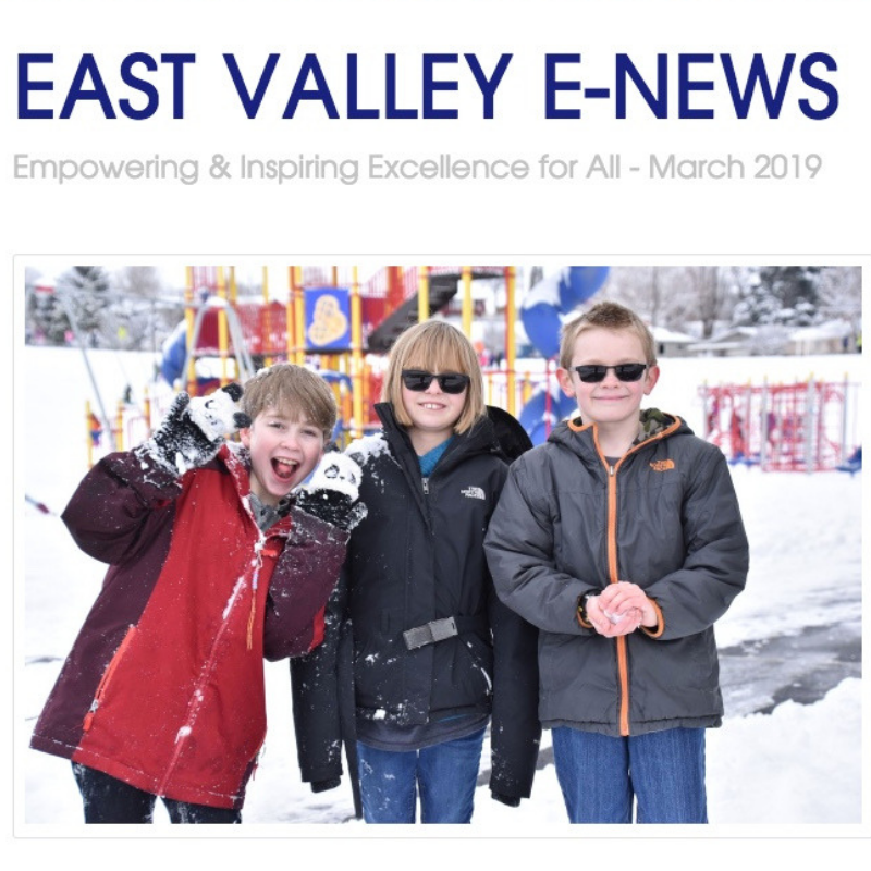 East Valley E-news March 2019 - Kids playing in the snow.